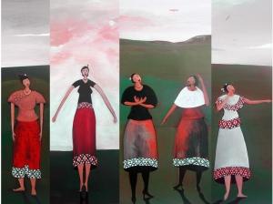 Collage of Paintings from the 'Mai Wahine' series 2010